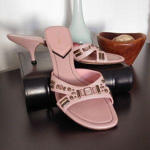 Miu Miu Bejeweled Leather Kitten Heels 🌺